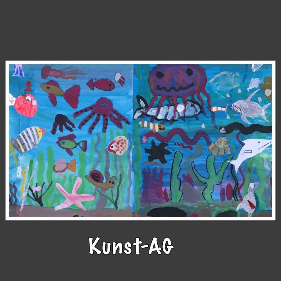 Dieses Kunstwerk hat die Kunst-AG gemalt.