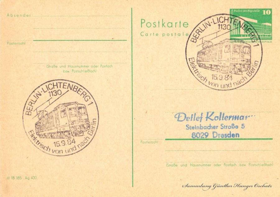 Postkarte carte postale  15.9.84