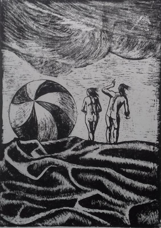 Paar am Strand1988 Zementsteindruck30 x 42 cm