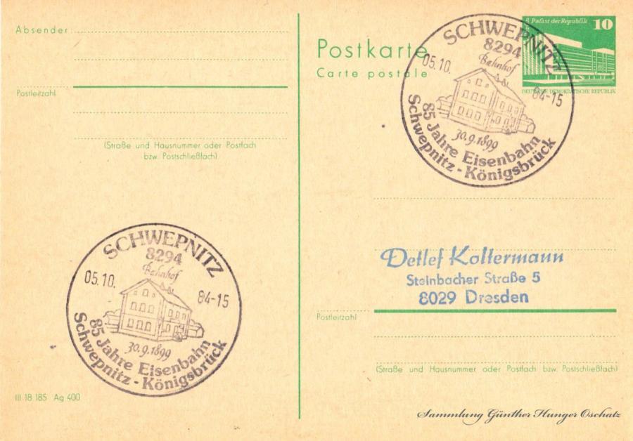 Postkarte carte postale  05.10.84