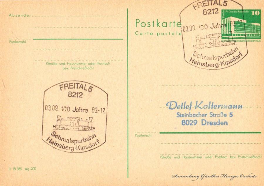 Postkarte carte postale  03.09.83