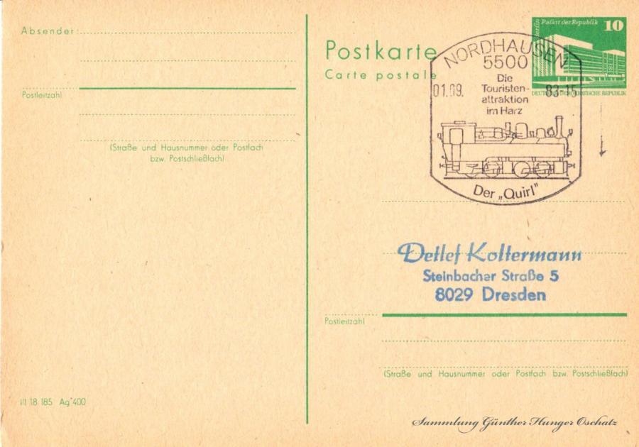 Postkarte carte postale 01.09.83
