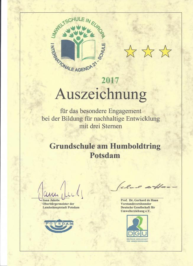 Urkunde Umweltschule 2017