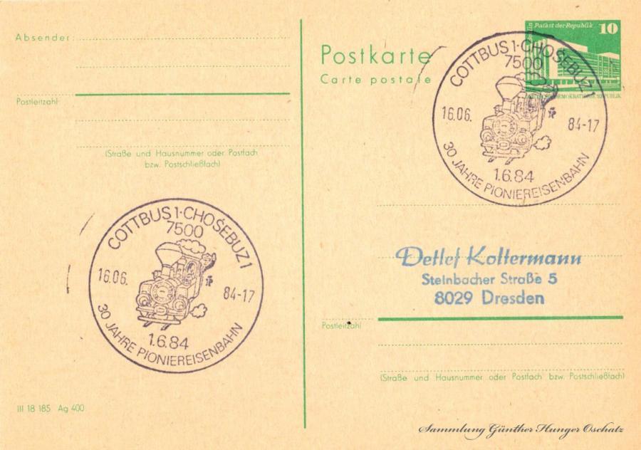 Postkarte carte postale  16.06.84
