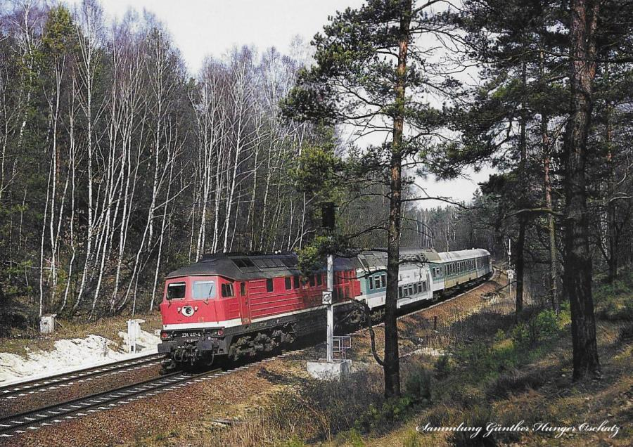 Diesellokomotive 232 217 mit Reisezug  bei Dresden-Klotzsche