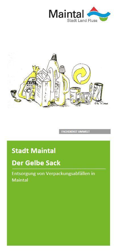 Externer Link zur PDF-Datei Flyer Der Gelbe Sack; Bild zeigt die erste Seite des Flyers, auf der diverse Abfälle für den Gelben Sack zu sehen sind; Bild: Screenshot - Flyer Stadt Maintal