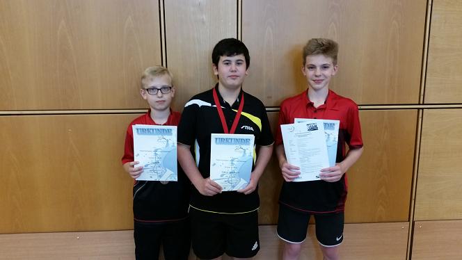 A-Schüler Tischtennis von links nach rechts. Jan Kehl, Marius Griesbach, Sven Tullius