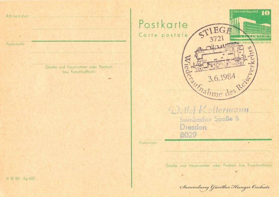 Postkarte carte postale 3.6.1984