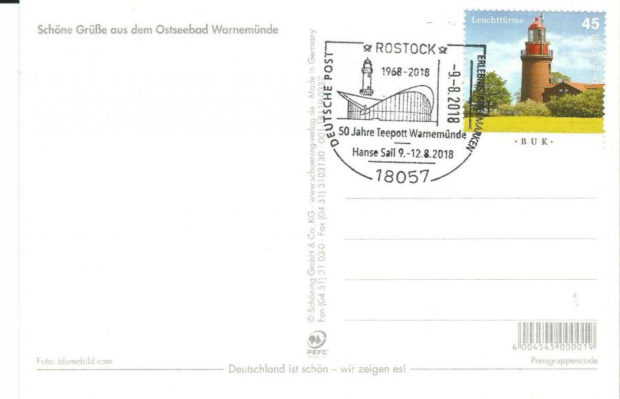 Postkarte Teepott 50 Jahre