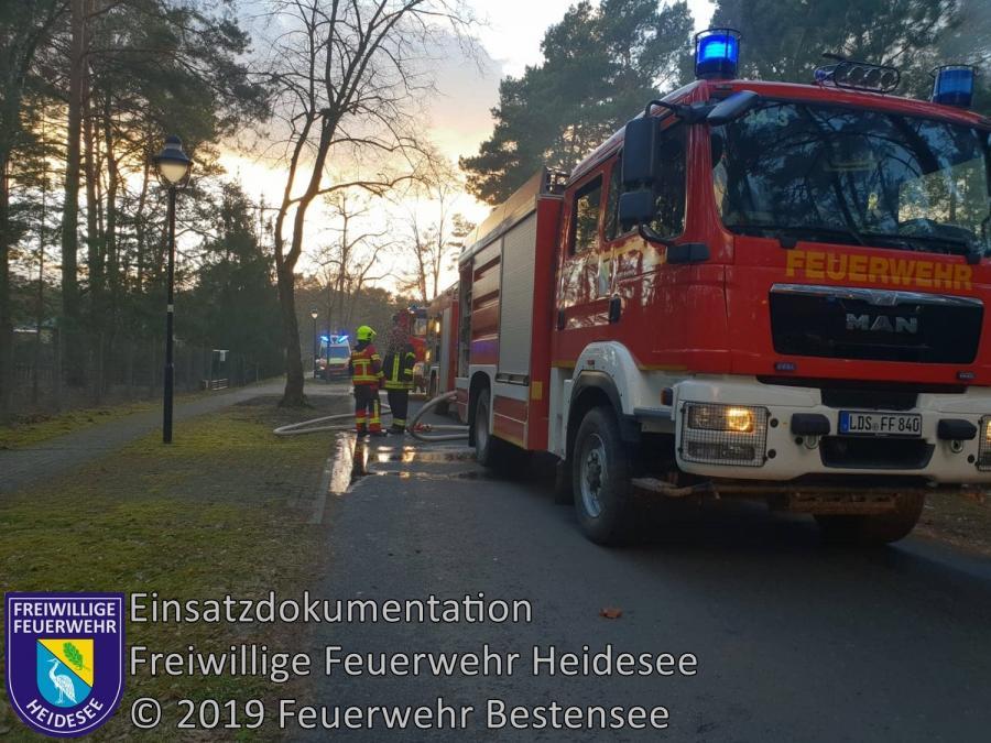 Einsatz 16/2019   Bungalow in Vollbrand   Prieros Seekorso   11.02.2019
