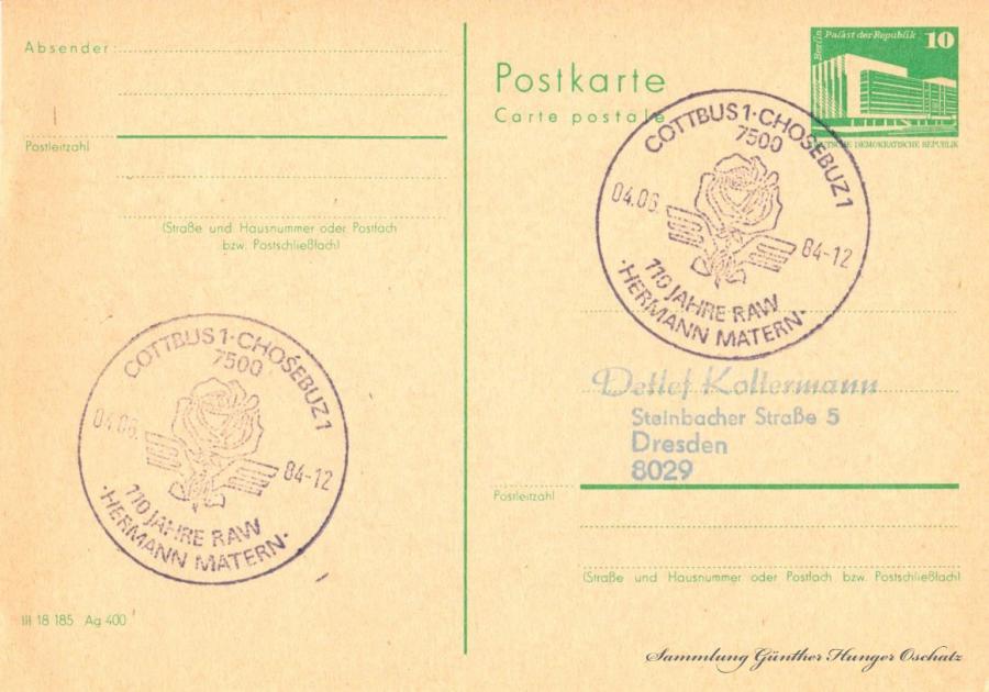 Postkarte carte postale  04.06.84
