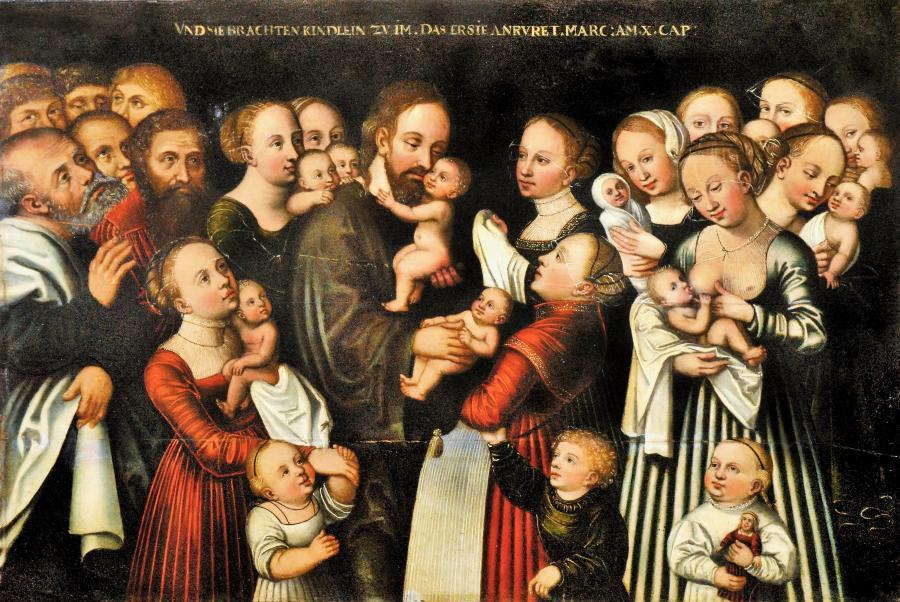 Christus segnet die Kinder, Gemälde von Lukas Cranach d.J.