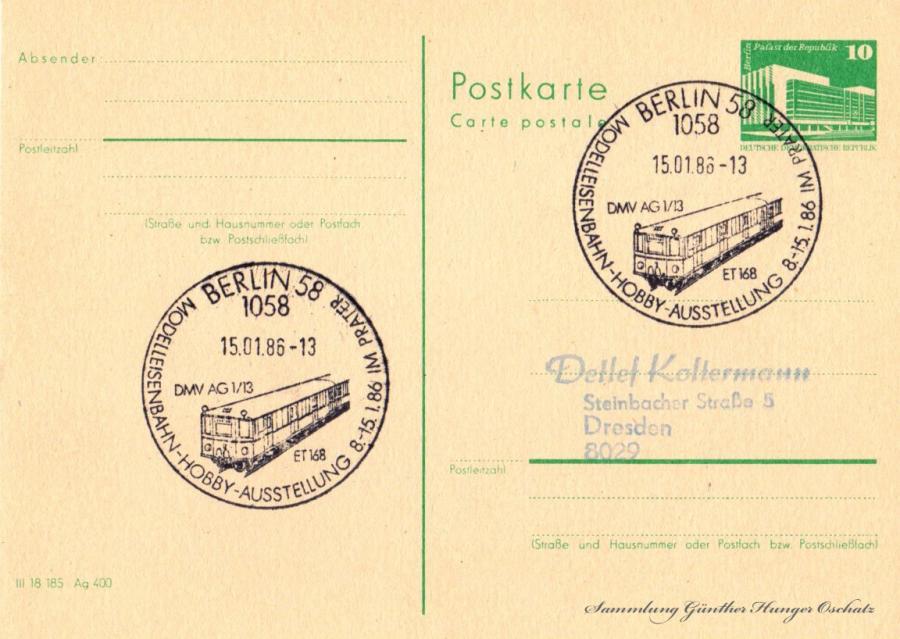 Postkarte carte postale  15.01.86