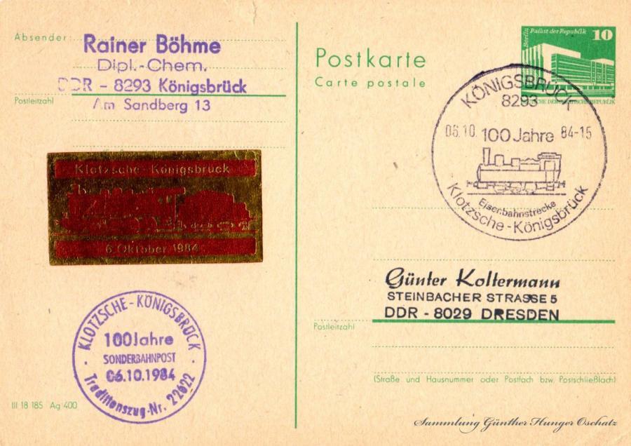 Postkarte carte postale 06.10.84 Sammlung Günther Hunger Oschatz