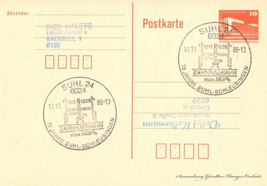 Postkarte  17.11.86