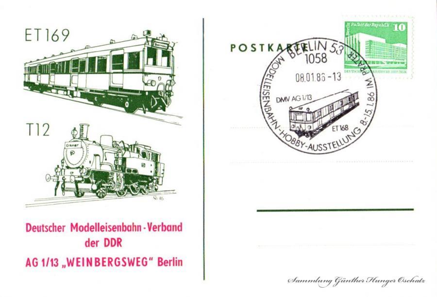 """Postkarte  Deutscher Modelleisenbahn – Verband der DDR  AG1/13 """"Weinbergsweg"""" Berlin  08.01.86"""