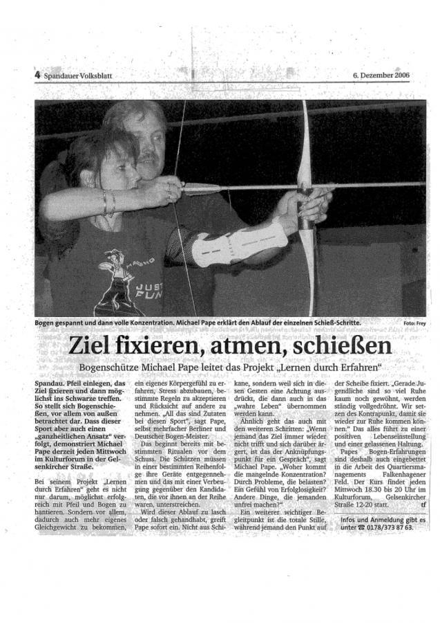 Spandauer Volksblatt vom 6.12.2006