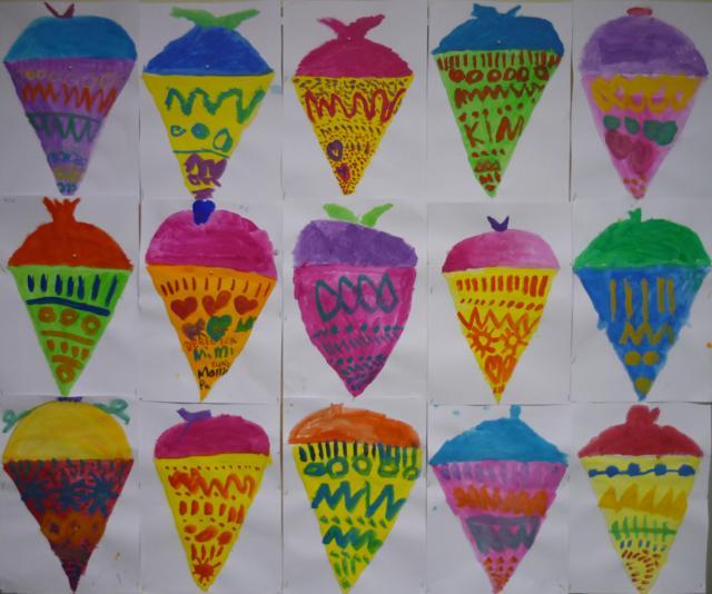 Schultüten - gemalt von den Kindern der 1a