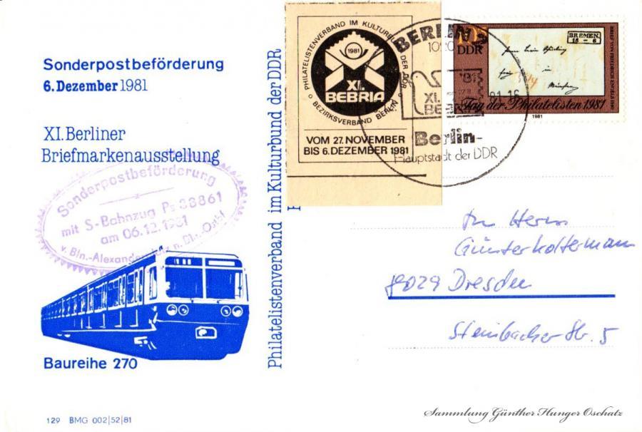 Sonderpostbeförderung 6. Dezember 1981