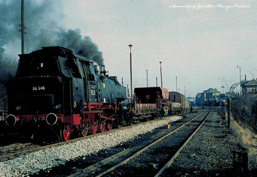 Güterzugtenderlokomotive 86 545 rangiert im Bahnhof Zittau