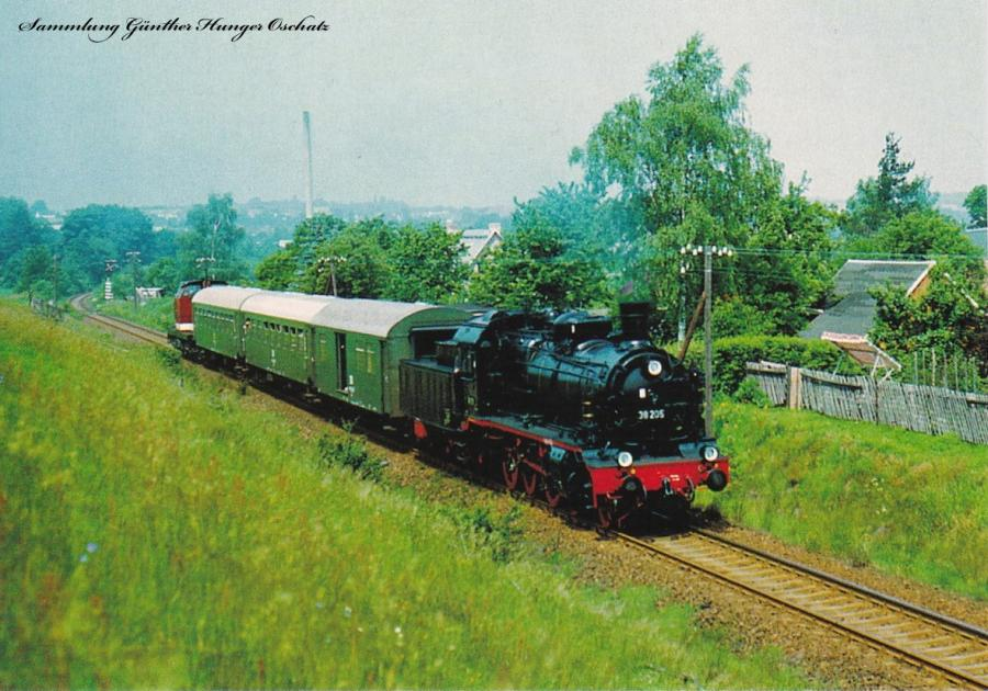 Personenzugdampflok 38 205 mit Reisezug zwischen Lichtenstein und Rödlitz-Hohndorf