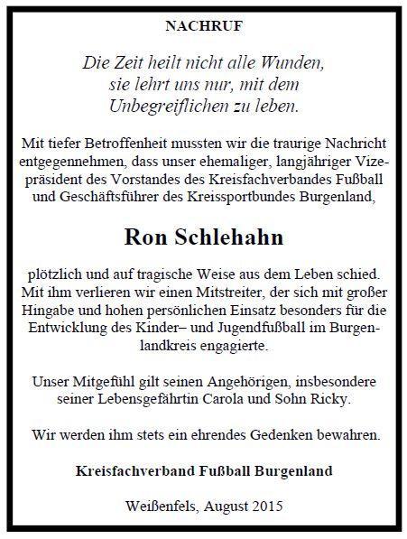 Nachruf Ron Schlehahn