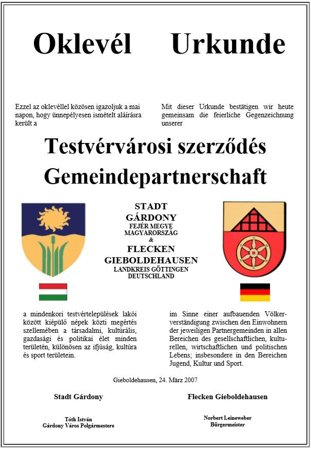 Städtepartnerschaft mit Gárdony