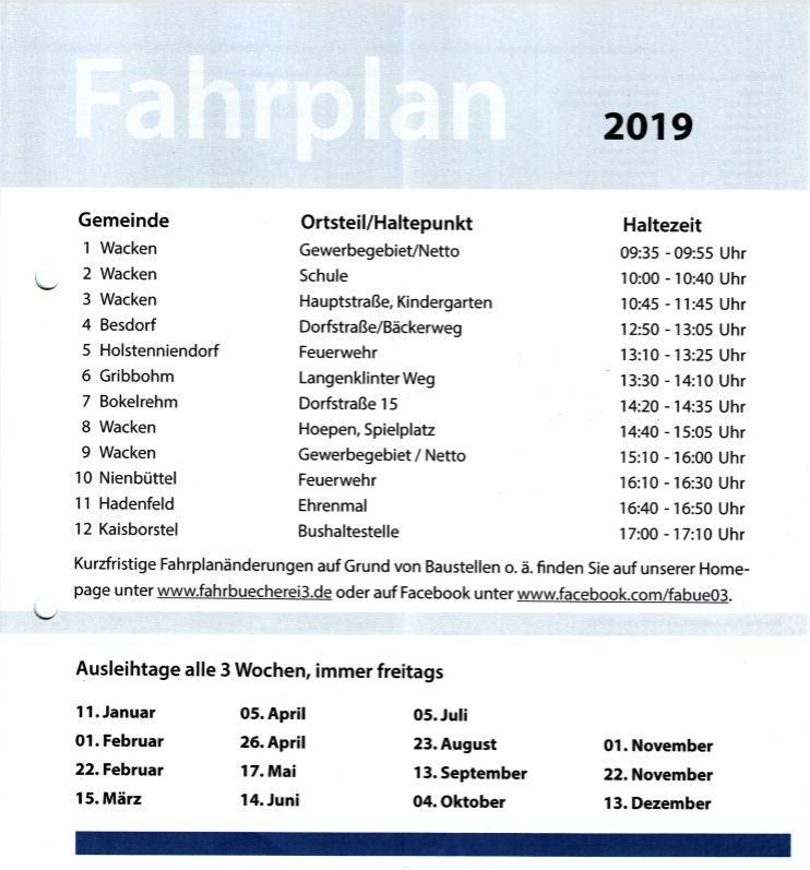 Fahrplan 2019