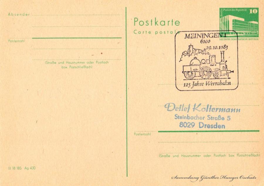 Postkarte carte postale  29.10.1983