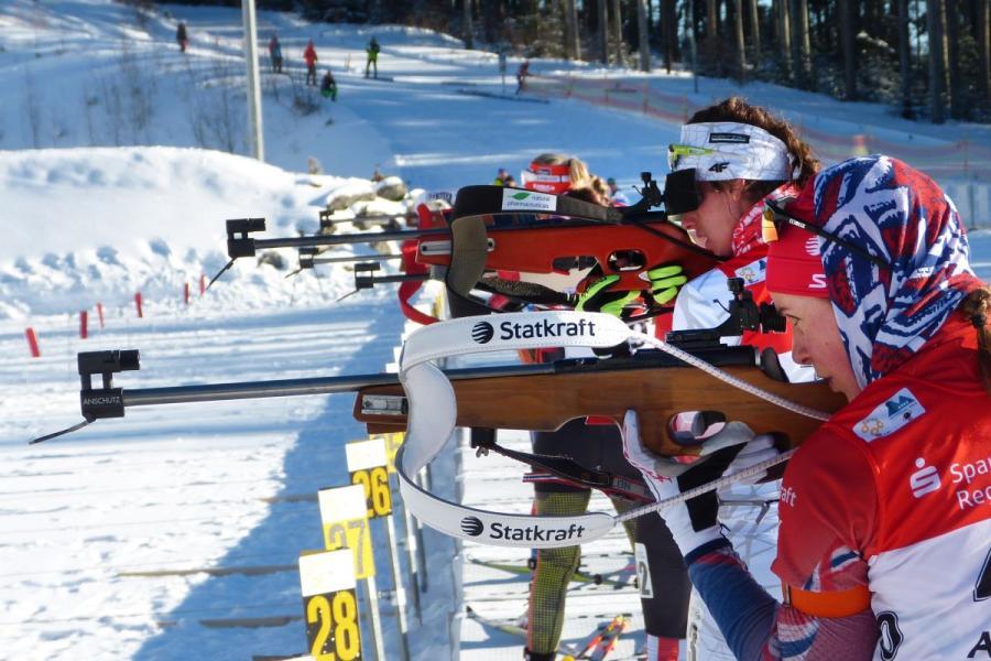 Biathlon Wettkampf im Hohenzollern Skistadion am Großen Arbersee