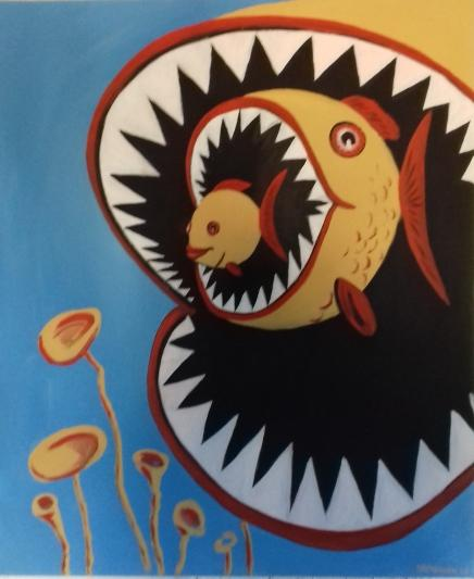 Fische   II2003 Acryl auf Leinwand  75 x 90 cm