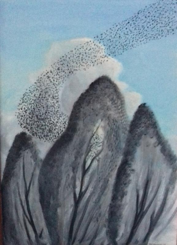 Vogelschwarm2000 Öl auf Hartfaser61 x 84 cm