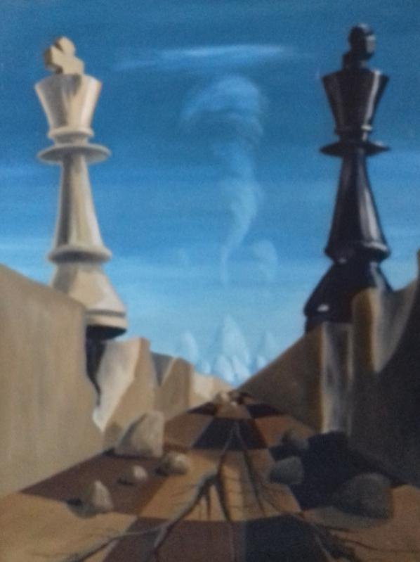 Die Begegnung1987 Öl auf Hartfaser69 x 90 cm