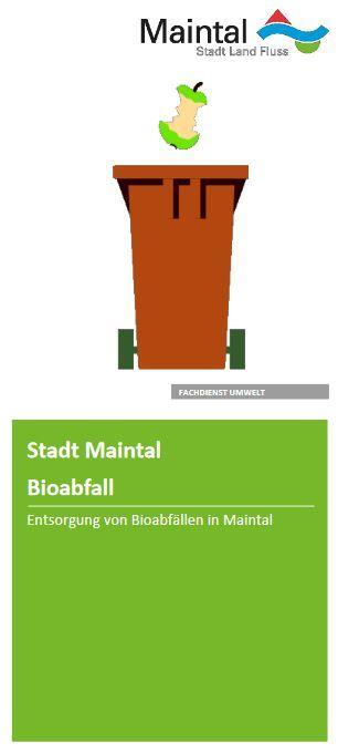 Externer Link zur PDF-Datei Flyer Bioabfall; Bild zeigt die erste Seite des Flyers, auf der eine braune Tonne und ein Apfelstrunk zu sehen sind; Bild: Screenshot - Flyer Stadt Maintal