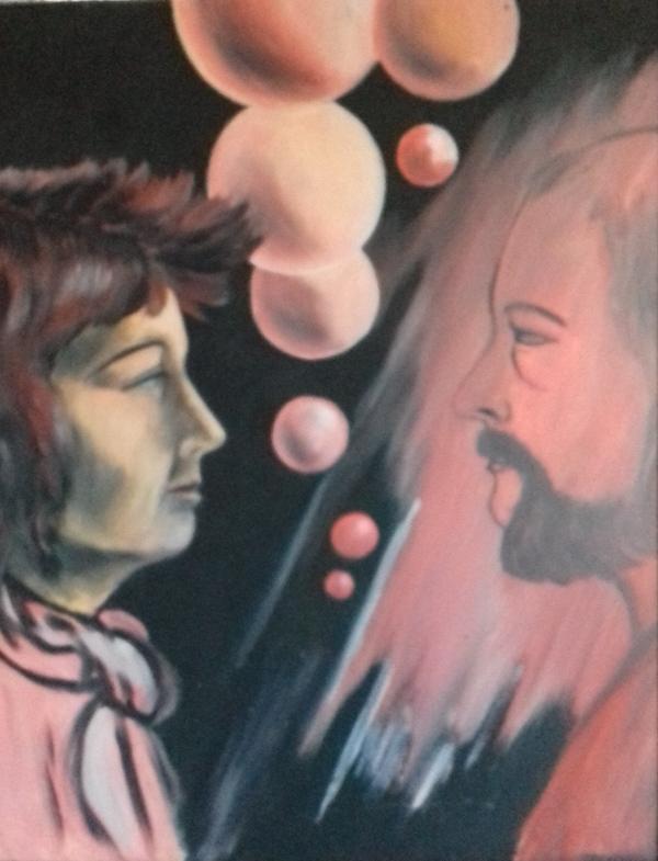Du und Ich1986 Öl auf Hartfaser48 x 61 cm