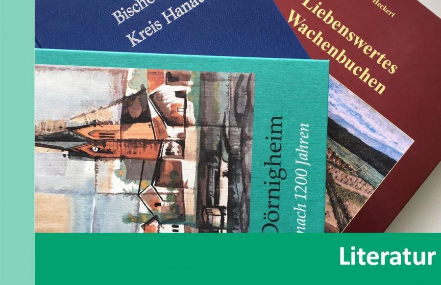 Link zu Literatur; Bild zeigt diverse Bücher über Maintaler Ortsteile