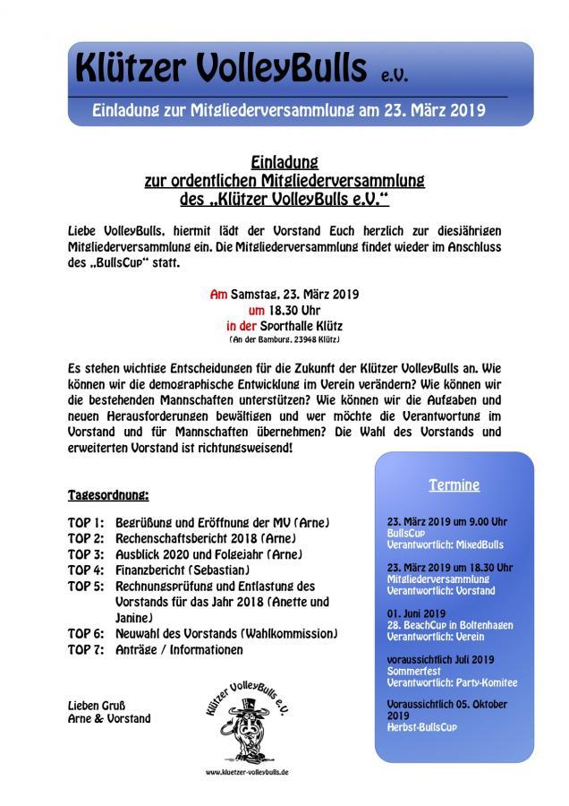 Einladung zur Mitgliederversammlung am 23. März 2019