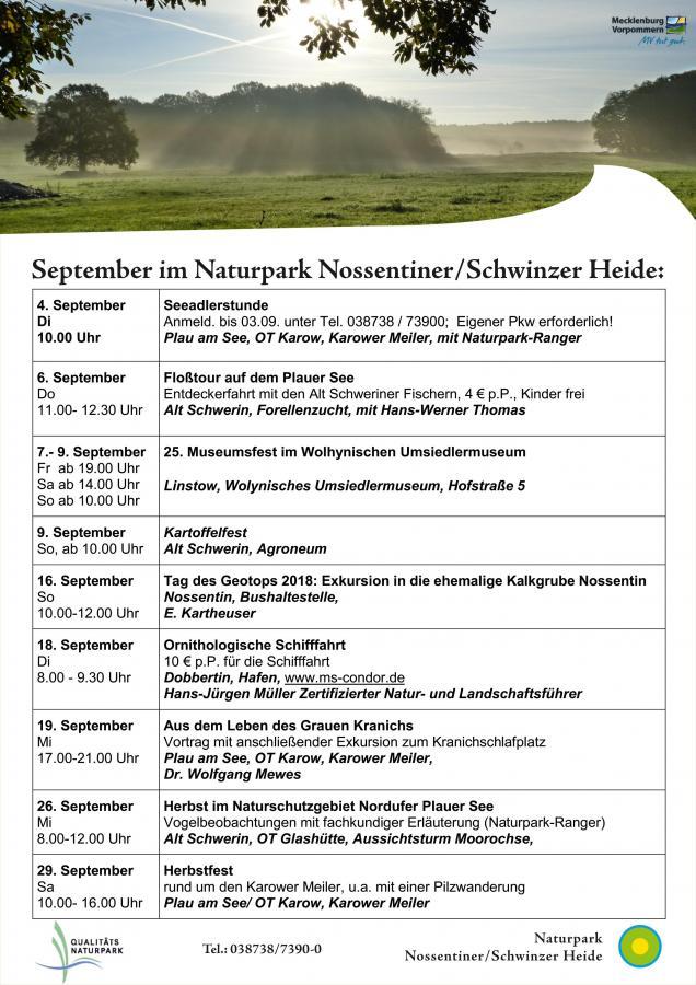 September- Veranstaltungsübersicht