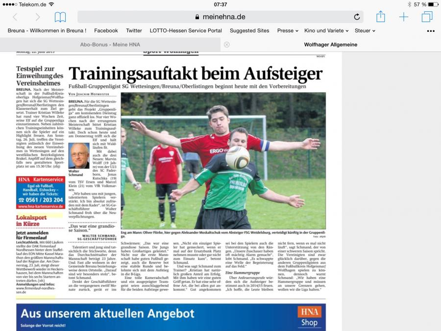 Trainingsauftakt