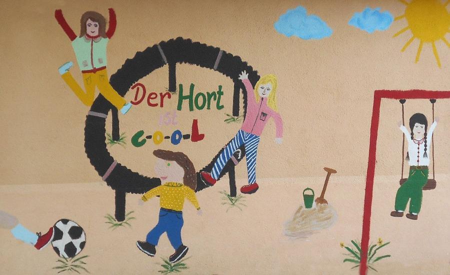Von Kindern entworfenes und gestaltetes Wandbild