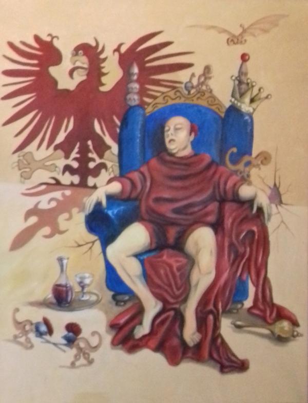 Schlafender König 2003  Öl auf Leinwand 118 x 150 cm