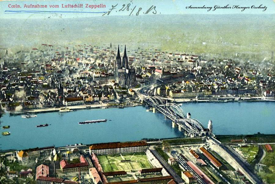 Coeln Aufnahme vom Luftschiff Zeppelin