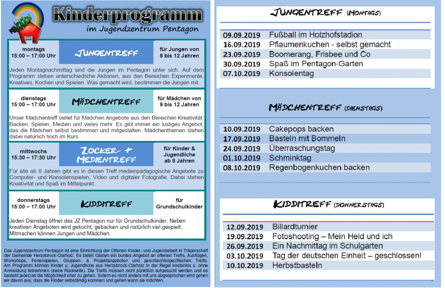 Kinderprogramm ab Sep 2019