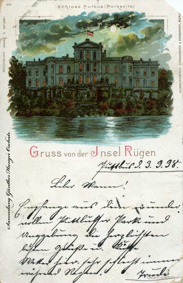 Gruss von der Insel Rügen Schloss Putbus Parkseite