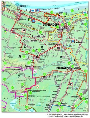 Hadler Sagenweg, Übersichtskarte in Cultureapp Map