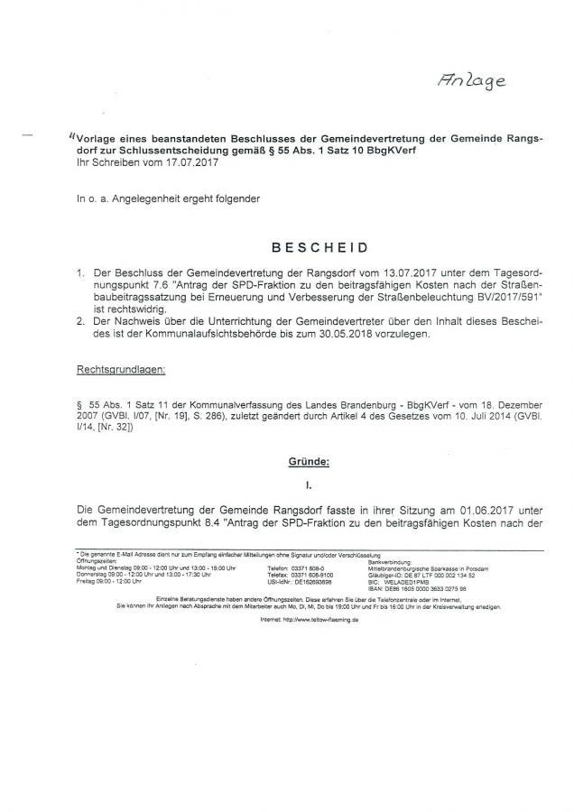 © Gemeinde Rangsdorf - Bescheid Landkreis Teltow-Fläming - Seite 1