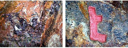 Vielfältig mineralisierter Gang des Casper Stehenden (links) Gedingezeichen für den Stoß- und Sohlennachriss (rechts)