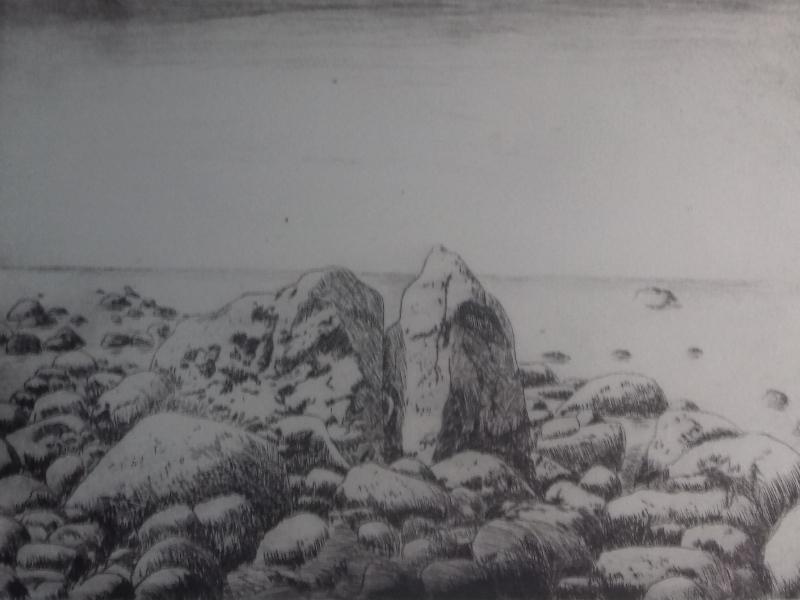 Steiniger Strand -32000 Radierung35,5 x 24,5 cm
