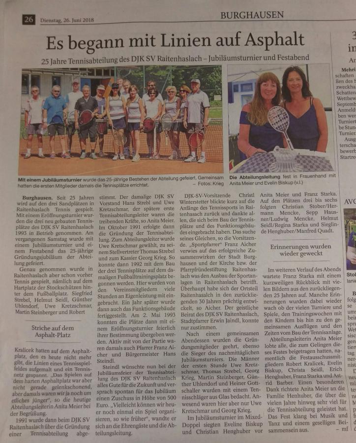 Zeitungsartikel anlässlich 25 Jahre Tennisabteilung des DJK-SV Raitenaslach