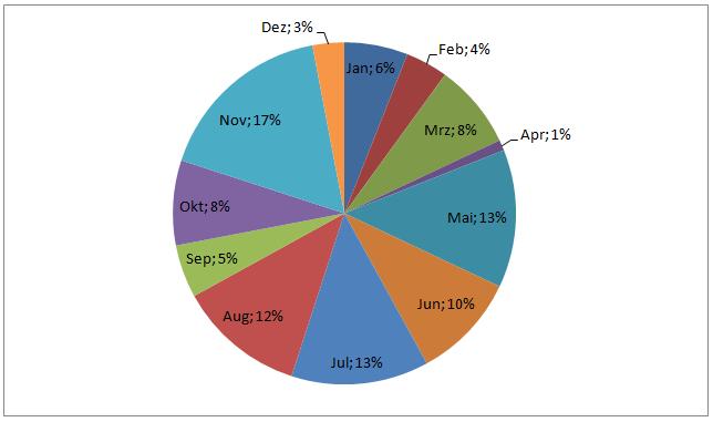 Einsatzverteilung auf die Monate Kreis